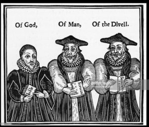 image of three puritans holding books with captions of god, of man, of the devil